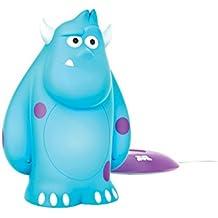 Philips Disney Sulley Monstruos, S.A. - Peluche luminoso, con base de carga, luz blanca cálida, bombilla LED de 0,18 W, color azul