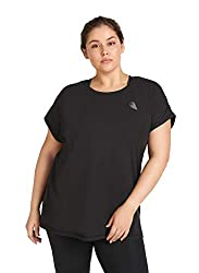 Zizzi Damen Große Größen Sport Shirt Kurzarm Rundhals Fitness Top Gr 42-56, Schwarz, L (50/52)