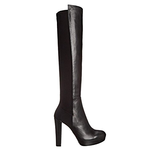 Elegant-high-shoes-Botas-Para-Mujer-Negro-Chunky-Heel-Suede-Stretch-Wide-Calf-Fit-Calf-Knee-High-Boots-Tallas