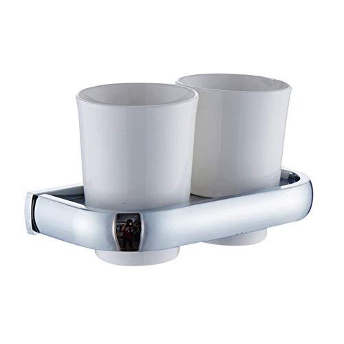 BOATX Chrom Zahnputzbecherhalter Zahnbürstenhalter aus Messing mit 2 Keramikbecher Doppel-Zahnputzbecher zur Wandmontage bohren für Badezimmer