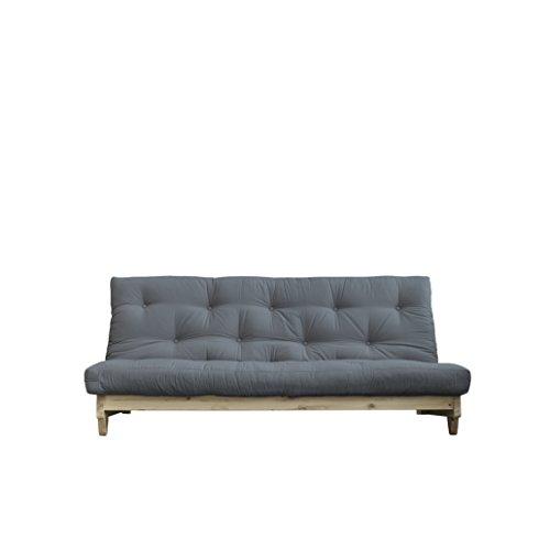 Karup Design Fresh | 3 sitzer Futon Schlafsofa im skandinavischen Stil, Natur Holz mit Grau Matratze 140 x 200 | Kiefer, FSC Mix Zertifiziert Gestell: nordische, gris, 90 x 140 x 200 -