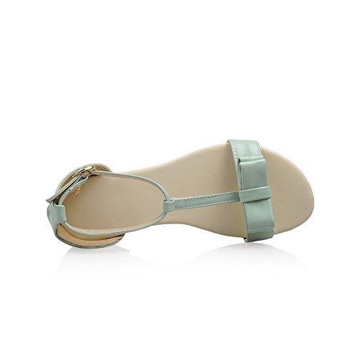 AalarDom femme à Talon Bas Pu Cuir Couleur Unie Boucle Ouverture D'Orteil Sandales Vert(3cm)