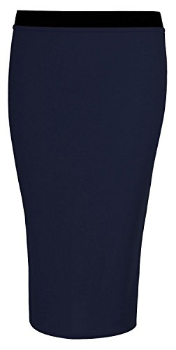 Fast Fashion Frauen Rock Plain Midi Bleistift Bodycon Dehnbar Navy