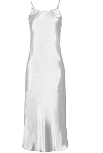 Nine X- S-6XL Langes Nachtwäsche / Nachtmend aus Satin, große größen negligee White M (Langes Satin Chemise)