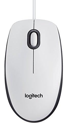 Logitech M100 Maus mit Kabel, 1000 DPI Optischer Sensor, USB-Anschluss, 3 Tasten, Für Links- und Rechtshänder, PC/Mac - weiß, Englische Verpackung