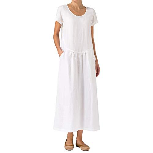 XNBZW Damen-Kurzarm-Taschen Aus festem Oansatz Leinen Lässiges Rüschen-T-Shirt Sommer Mode-Kleid Weiß M