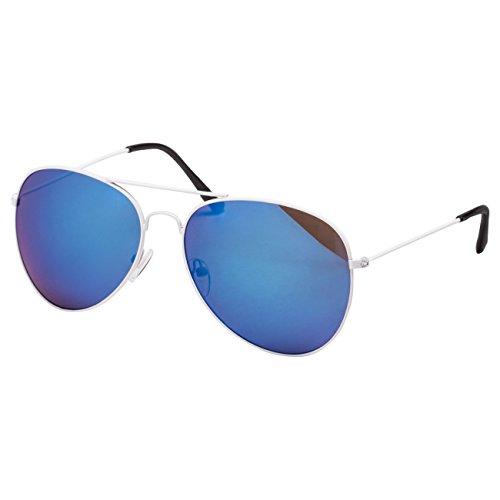 Ciffre EL-Sunprotect® Pilotenbrille Fliegerbrille Sonnenbrille Brille Top Design Weiß Blau Verspiegelt