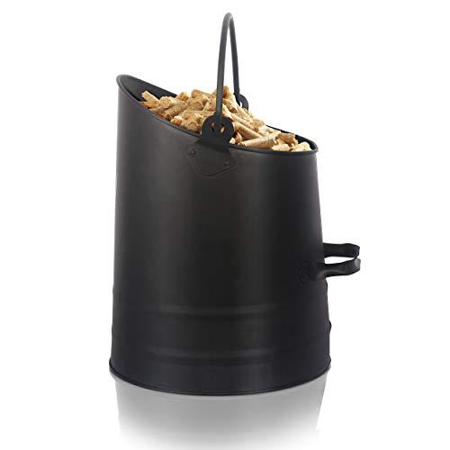 Ora-Tec Pelleteimer Kohlekorb – 24 x 25-33 x 25 cm aus Stahl – Kohlenschütte Ascheimer mit Henkel & klappbarem Griff - Kohlenfüller rund - Pelletschütter für Kohle & Pellets Pelletksorb Kohleneimer