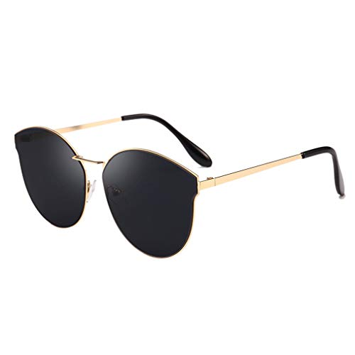 XZANTE Frauen Flat-Top Katze Augen Sonnenbrille Rahmen Damen Mode Sonnenbrillen (Schwarz)