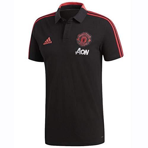 adidas Polo Manchester United FC 2018-2019 Black-Blaze Red-Core Pink Talla S
