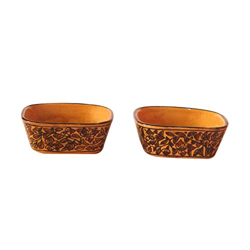 India Meets India Thanksgiving Handicraft Ceramic Serving Bowls Set of 2 Mixing Bowls Fruit Bowl Snack Bowl, 100 ML Best Gifting, Made by Awarded Indian Artisan