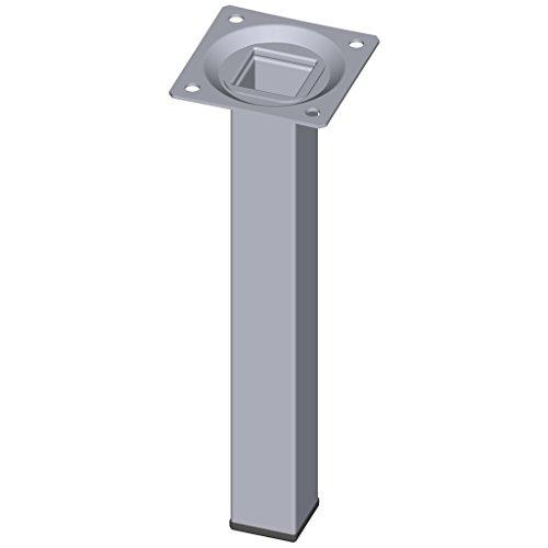 Element System 4 Stück Stahlrohrfüße eckig / Tischbeine / Möbelfüße / inkl. Anschraubplatte / L 20 cm / chrom / 4 Farben / 10 Abmessungen -