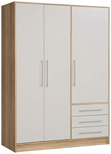 NEWFACE  Kleiderschrank 3-türig, 3 Schubkästen, Holz, Sonoma Eiche Dekor + Weiß, 144.6 x 60 x 200 cm - Eiche Holz Türen