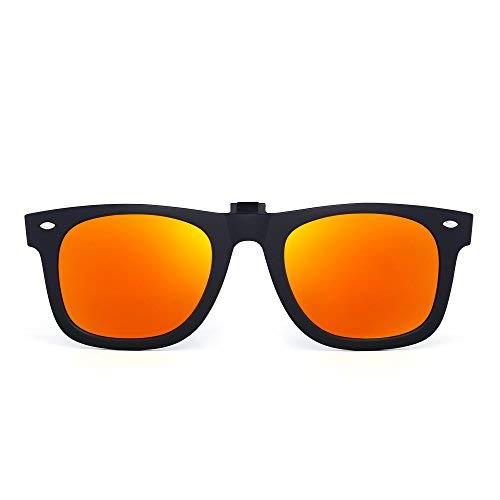 JIM HALO Polarisiert Clip auf sonnenbrille Flip up Gespiegelt Brille Damen Herren(Matt-schwarz/Polarisiertes Gold) (Sonnenbrillen Für Auf Clip Brillen)