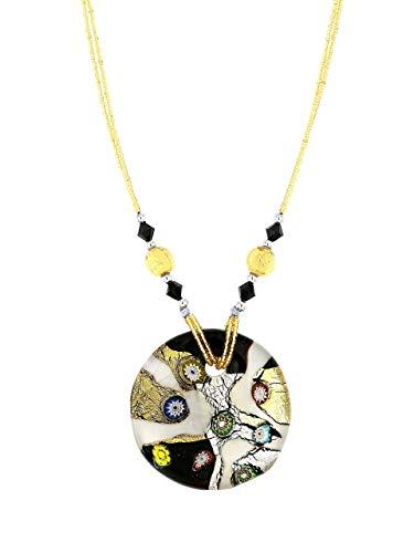 Venetiaurum - Collana donna con pendente in vetro originale di Murano e Argento 925 - Gioiello made in Italy certificato