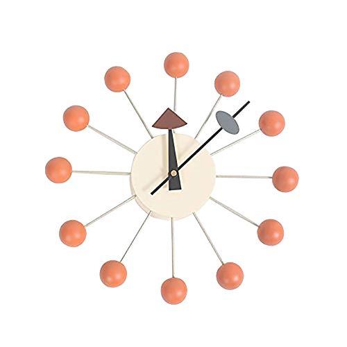 Clock nelson orologi a sfera, supporto in alluminio atomico orologio da parete mezzo secolo retro design,orange