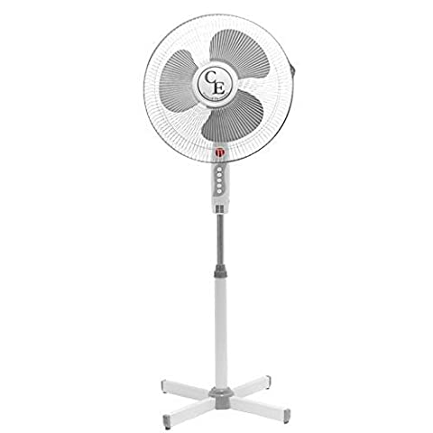 16 (40cm) Cool Breeze Air Blow Fan - Portable 16 inch Pedestal Static & Wide Angle Oscillating Cooling Electric Fan Speed Adjustable Tilt Floor Standing With Height Adjustable by Apollo