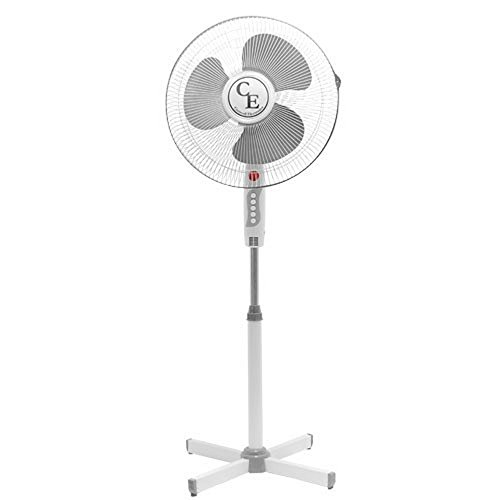 16 (40cm) Cool Breeze Air Blow Fan - Portable 16 inch Pedestal Static & Wide Angle Oscillating Cooling Electric Fan Speed Adjustable Tilt Floor Standing With Height Adjustable by Apollo Furnishings (Floor Standing Fan)