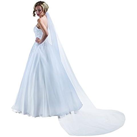 MGT-shop sposa velo 616 capelli gesteck velo con taglio bordo bianco panna colore avorio 250/250 cm