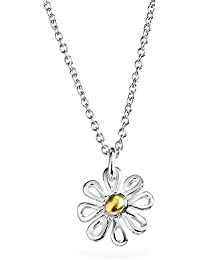 Bling Jewelry Two Toned Daisy Pendant Sterling Silver Necklace 16 Inches