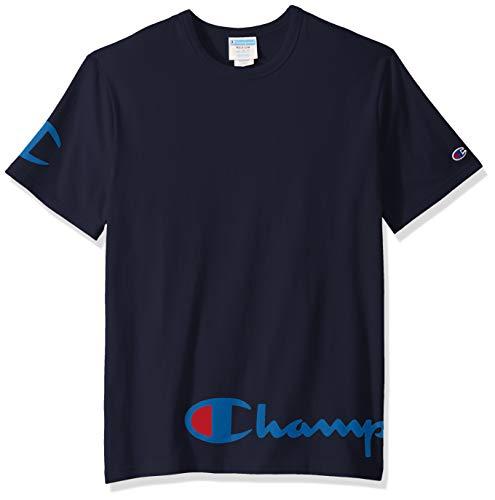 Champion Life Herren Heritage Tee T-Shirt, Navy W/Wrap Around Script, XS -