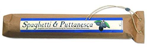 Spaghetti & Puttanesca – Gourmet Geschenk – Spaghetti mit fertiger Saucen Mischung (560g) – zum Kochen oder Verschenken – von Feuer & Glas Glas-sauce-gerichte