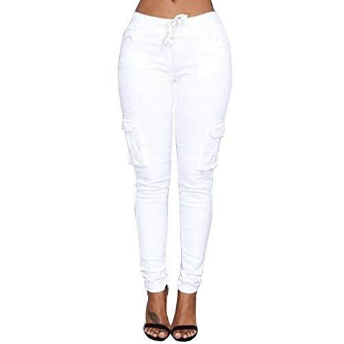 VRTUR Hosen, Damen Freizeithose Stretch Beiläufig Skinny Jogginghose Mode Hip Push up Slim Fit Pants Einfarbig Hose, Bequeme Elastischer Taille Jeans Weiß XL