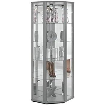 glasvitrine sammlervitrine eckvitrine vitrine led beleuchtet schlo spiegel weiss schwarz silber. Black Bedroom Furniture Sets. Home Design Ideas