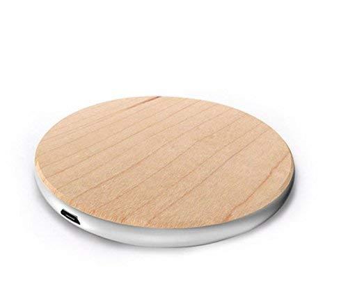 10 W FastCharge QI Holz Ladestation, Kompatibel mit Android und iPhone XS, XS Max, XR, 8, 8plus, iPhone X, kontaktloses Laden, Holz Qi Charger, Ladekabel, Ladestation - Bambus Rund