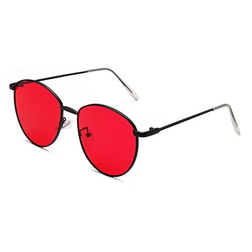 YHgiway Unisex-Sonnenbrille runder Metallrahmen - UV400-Schutz flach getönte Linse/reflektierende verspiegelte Linse/Transparente Linse für Frauen Männer John Lennon inspiriert,BlackFrame/RedLens