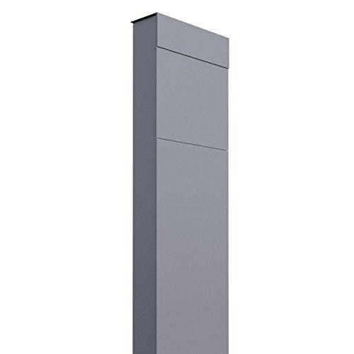 Standbriefkasten, Design Briefkasten The Box Grau Metallic - Bravios