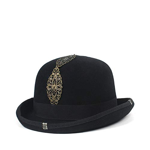 L.W.SURL Vintage Steampunk Gear Gläser schwarzer Hut Unisex Paar Brown Fedora Party Bowler Headwear Top Hüte (Farbe : Schwarz, Größe : 59cm)