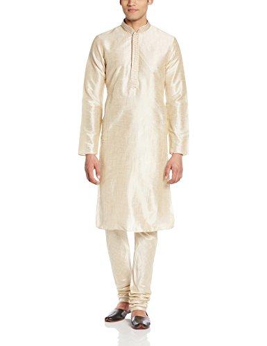 Manyavar Men's Silk Kurta Churidar (8903035107541_S952089-311-M_Beige)