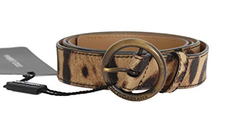 Dolce & Gabbana - Damen Gürtel - Brown Leopard Gold Buckle Belt - Size: 95cm
