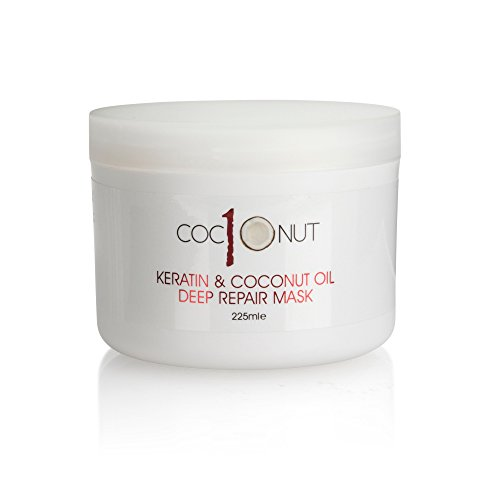 Haarmaske mit Keratin & Kokosöl - tief regenerierende Intensivpflege für trockenes/geschädigtes Haar - 225 ml