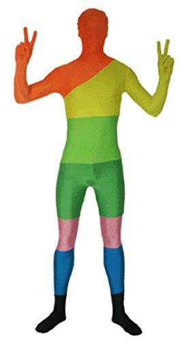 howriis Unisex Premium Rainbow Zentai Spandex Fancy Anzug für Erwachsene und Kinder Gr. L, (Morphsuit Rainbow)