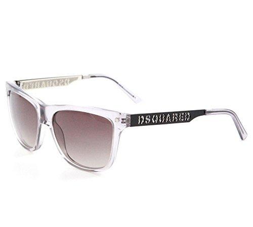 DSQUARED² Designer Sonnenbrille, Durchsichtig/glasig mit grau-braunen Gläsern, Wayfarer