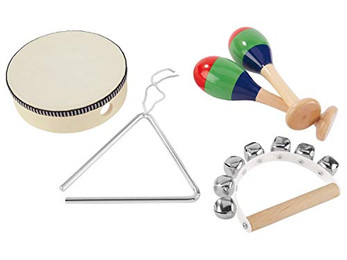 Unbekannt Kinder Musikinstrumente Set Musik Handtrommel Rassel Triangel Schellenkranz