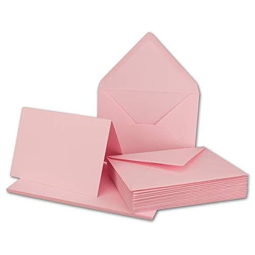 20x Faltkarten Set mit Brief-Umschlägen Rosa - DIN A6 / C6-14,8 x 10,5 cm - Premium Qualität - FarbenFroh® von Gustav NEUSER®