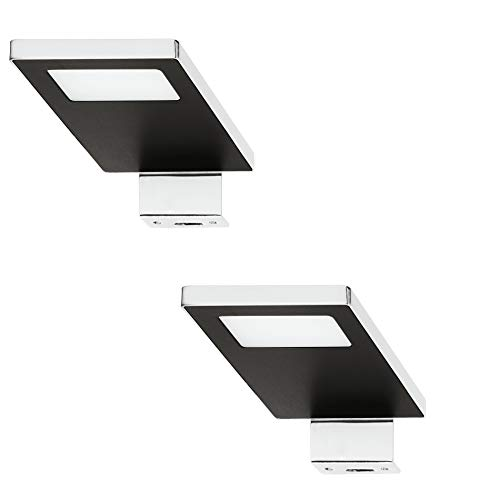 Gedotec LED Anbauleuchte Spiegel-Leuchte 12V Schrankleuchte LOOX 2033 Stahl verchromt - schwarz   kaltweiß 4000 K   Aufbauleuchte IP44 geprüft   1 Stück