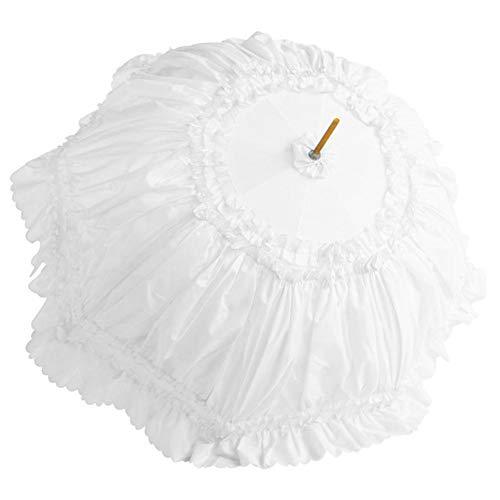 boastvi Spitzenschirm Damen Rüschenschirm Schirm mit Spitze Sonnenschirm Rüschen Sonnenschirm Kostüm Zubehör Damenschirm Viktorianischer Stil Brautschirm(Rosa Weiß schwarz - Viktorianischen Stil Kostüm