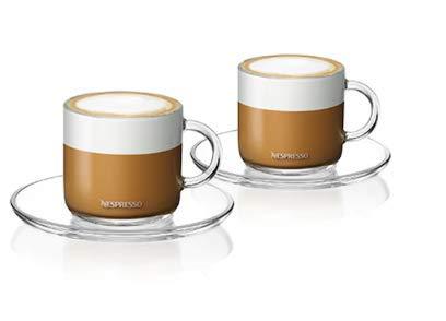 Nespresso vertuo Cappuccino 2Gläser 2Untertassen 2Teelöffel