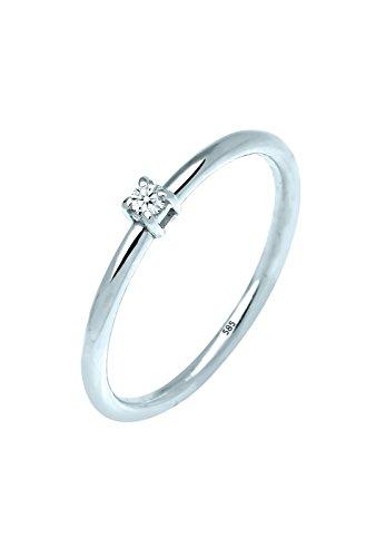 Alianza de boda solitario Mujer oro blanco 14 k (585) diamante redonda