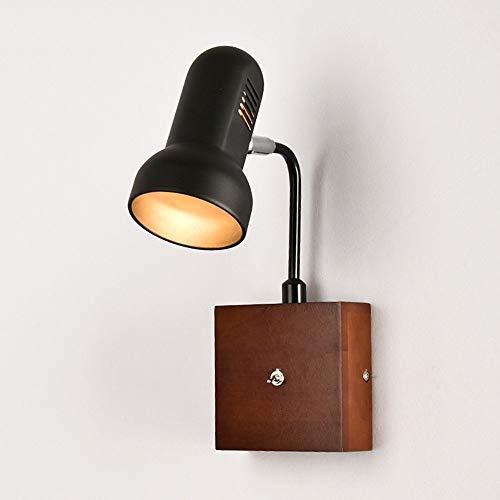 JIE Kreative Wandbeleuchtung - Wandleuchte Led Holz Kunst Zwei Farben Optional Arbeitszimmer Schlafzimmer Nacht Wohnzimmer Gang Beleuchtung,Schwarz