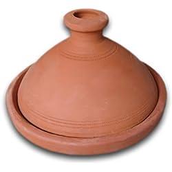 Marrakech Accessoires–Tajín marroquí (para 4personas 27cm | Original olla de barro (handgetöpfert de Marruecos |–Cacerola