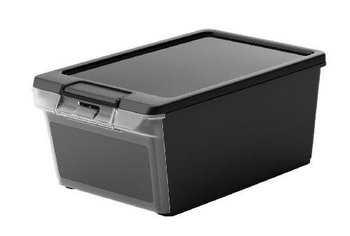 Kis 8447000 0271 02 Twin Box-Scatola portaoggetti in plastica, colore: nero/trasparente, 9 L
