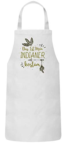 Weiße Indianer Kostüm - ShirtStreet lustige Karneval Gruppen Paar Verkleidung Frauen Herren Barbecue Baumwoll Grillschürze Kochschürze Fasching - Indianer Kostüm, Größe: onesize,Weiß
