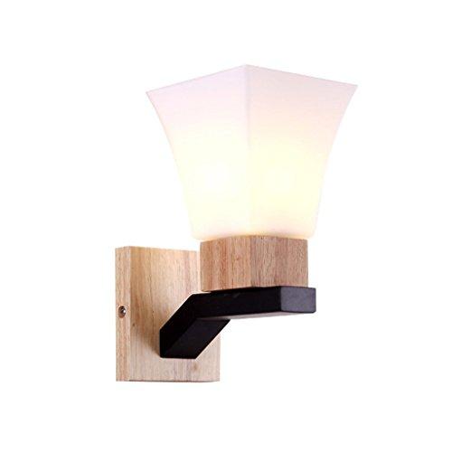M-zmds Nordique Simple Antique Mur En Bois Massif Applique Murale avec Laiteux Blanc Verre Abat-Jour Mur Lanterne Lumière Pour Loft Allée Couloir Mur Luminaire