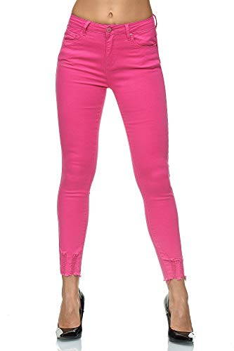 Elara Damen Stretch Hose | High Waist Jeans | hoher Bund | Slim Fit | Chunkyrayan J785-26 Pink-44 - Pink Denim