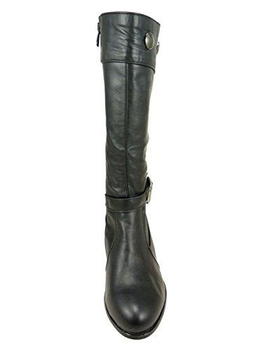 Bottes femme cloutées à petit talon de 4 cm large similicuir Noir